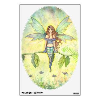 Cute Fairy in Green Garden Fantasy Watercolor Art Wall Sticker