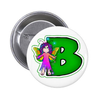 Cute Fairy Initial B Pinback Button