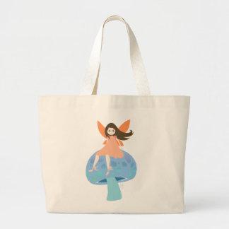 Cute Fairy on mushroom Large Tote Bag