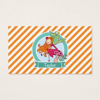 Cute Fairy on Mushroom; Orange & White Stripes Business Card
