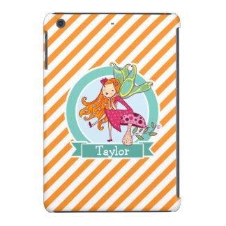 Cute Fairy on Mushroom; Orange & White Stripes iPad Mini Case