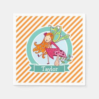 Cute Fairy on Mushroom; Orange & White Stripes Napkin
