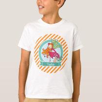 Cute Fairy on Mushroom; Orange & White Stripes T-Shirt