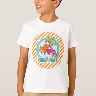 Cute Fairy on Mushroom; Orange & White Stripes T-Shirt