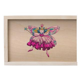 Cute Fairy on Silver Wooden Keepsake Box