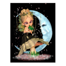 Cute Fairy Post Card With Fairy Kissing Frog