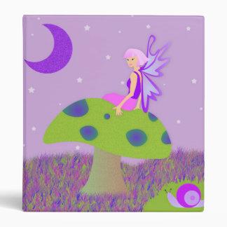 Cute Fairy Princess on Mushroom w/ Snail - Purple Binder