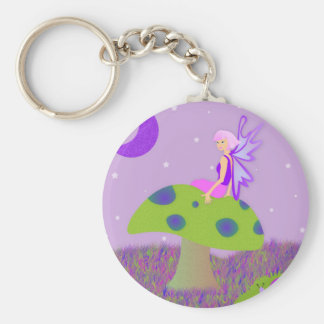 Cute Fairy Princess on Mushroom w/ Snail - Purple Keychain