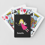 Cute fairy princess stars custom girls name bicycle playing cards