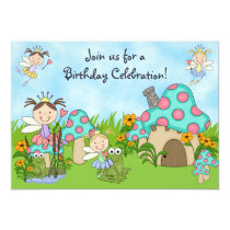 Cute Fairy Princesses and Frogs Birthday Party Invitation