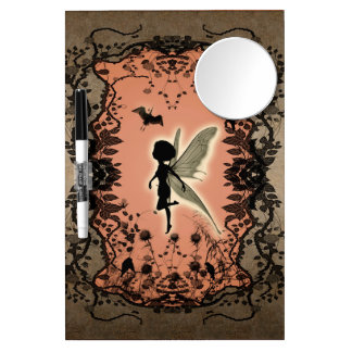 Cute fairy silhouette with glowing shine, dry erase board with mirror
