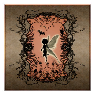 Cute fairy silhouette with glowing shine poster