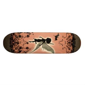 Cute fairy silhouette with glowing shine skateboard deck