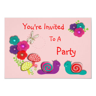 Cute Fairy Tale Whimsical Garden Flowers 3.5x5 Paper Invitation Card