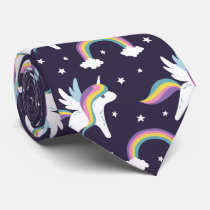 Cute Fairy Unicorn   rainbows blue background Neck Tie