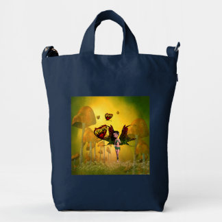 Cute fairy with butterfly duck canvas bag