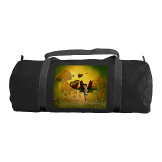 Cute fairy with butterfly gym duffle bag