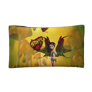 Cute fairy with butterfly makeup bags