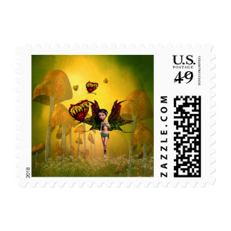 Cute fairy with butterfly postage stamp