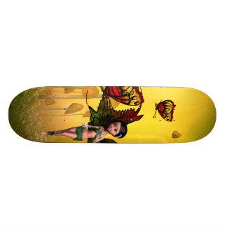Cute fairy with butterfly custom skate board
