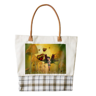 Cute fairy with butterfly zazzle HEART tote bag
