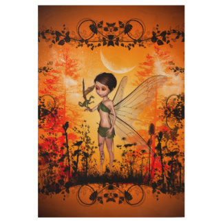 Cute fairy with little dragon anf black flowers wood poster