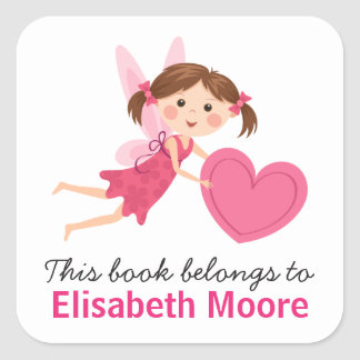 Cute fairy with pink heart kids bookplate book