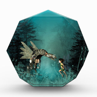Cute fairy with steam dragon in a fantasy forest award
