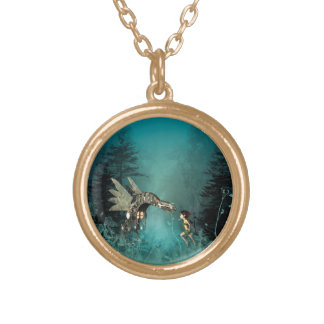 Cute fairy with steam dragon in a fantasy forest gold plated necklace