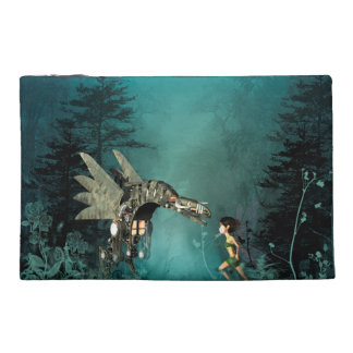 Cute fairy with steam dragon in a fantasy forest travel accessory bag