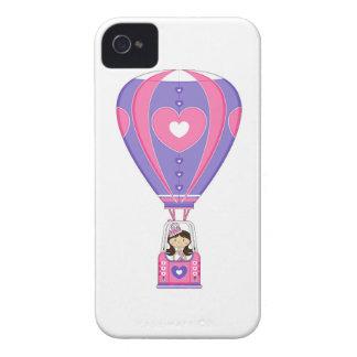 Cute Fairytale Princess in Hot Air Balloon iPhone 4 Case