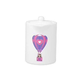 Cute Fairytale Princess in Hot Air Balloon Teapot