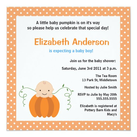 Cute Fall Baby Shower Invitation - Boy