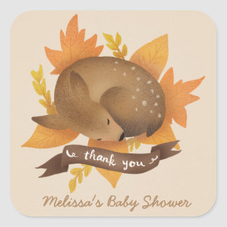 Cute Fall Deer Baby Shower Thank You Square Sticker