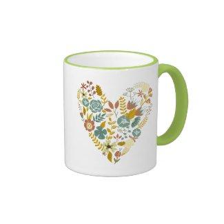Cute Fall Leafs Heart Illustration Ringer Coffee Mug