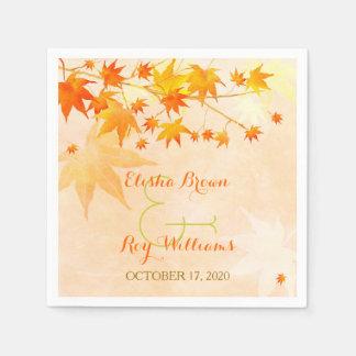 Cute Fall Maple Tree Wedding Paper Napkin