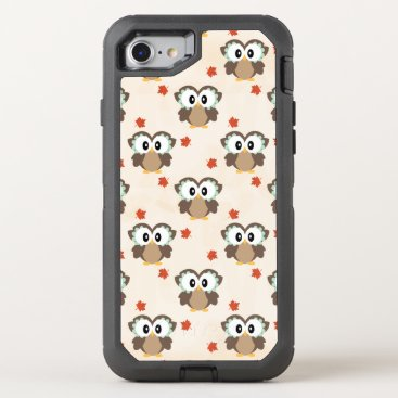 Beach Themed Cute Fall Owl OtterBox Defender iPhone 7 Case