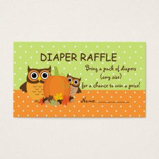 Cute Fall Owls and Pumpkin Diaper Raffle Tickets