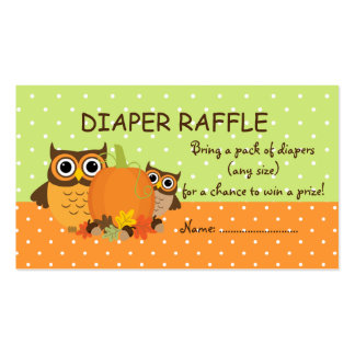 Cute Fall Owls and Pumpkin Diaper Raffle Tickets Double-Sided Standard Business Cards (Pack Of 100)