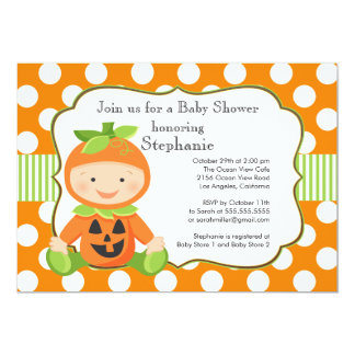 """Cute Fall Pumpkin Neutral Baby Shower Invitation 5"""" X 7"""" Invitation Card"""