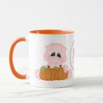 Cute Fall Seasonal pigs add monogram mug