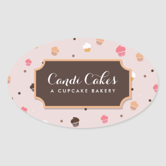 Cute Falling Cupcakes Pattern II Bakery Stickers