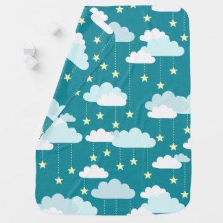 Cute Falling Stars & Clouds Pattern Swaddle Blanket