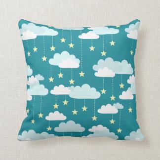 Cute Falling Stars & Clouds Pattern Throw Pillow