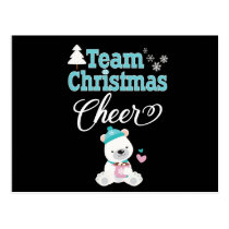 Cute Family Christmas Bear Team Christmas Cheer Postcard