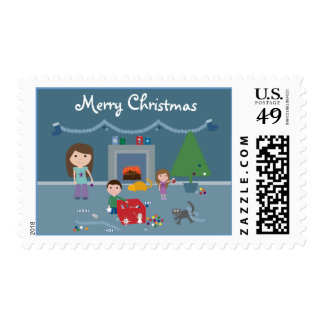 Cute Family Decorating the Christmas Tree Stamps