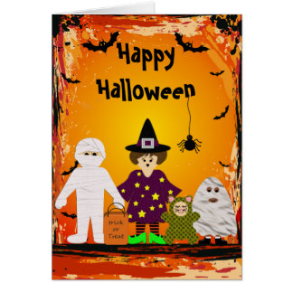 Cute Family in Halloween Costumes Card