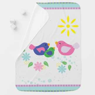 Cute Family of 3 Birds Baby, or Toddler Blanket