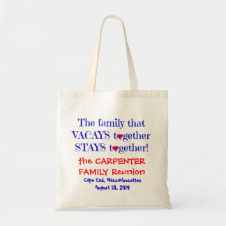 Cute Family Reunion Totes, Red White & Blue Budget Tote Bag