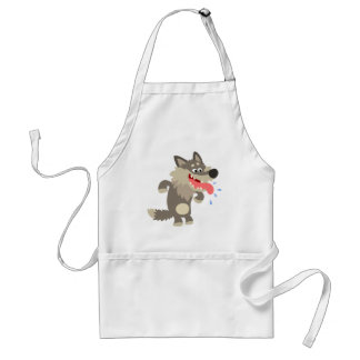 Cute Famished Cartoon Wolf Apron